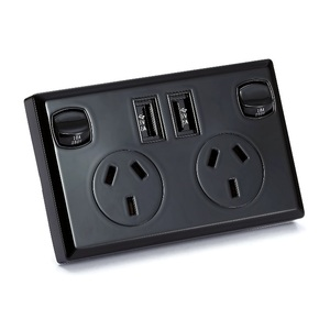 6 x Black Dual USB Australian Power Point Home Wall Power Supply Socket