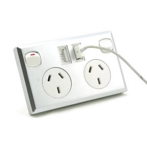 Silver Dual USB Australian Power Point Home Wall Power Supply Socket