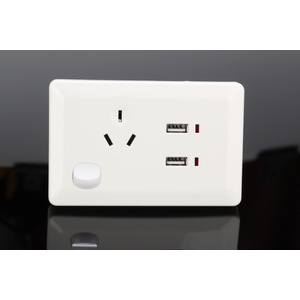 White Australian Power Point GPO Wall Plate with Dual 2.4A USB Socket Charger