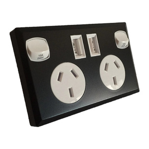 Black & White Dual USB Australian Power Point Home Wall Power Supply Socket