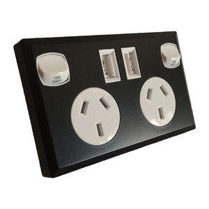 6 x Black & White Dual USB Australian Power Point Home Wall Power Supply Socket
