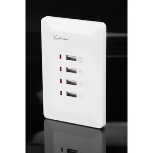 White Australian Wall Plate with 4 x USB Socket Charger