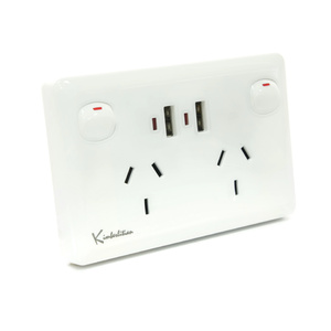 White Australian Dual Power Point GPO Wall Plate with Dual 2.4A USB Socket
