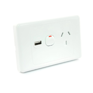 6 x White Australian Power Point GPO Wall Plate with 2A USB Socket