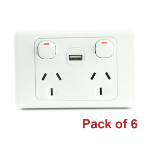 Pack of 6 White Australian Dual Power Point GPO Wall Plate with 2A USB Socket Charger