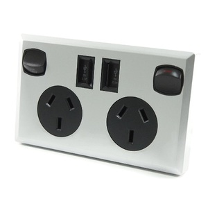 Silver & Black Dual USB Australian Power Point Home Wall Power Supply Socket