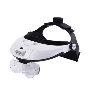 Head Magnifier with Interchangeable lens and LED Light