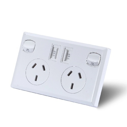 White Dual USB Australian Power Point Home Wall Power Supply Socket