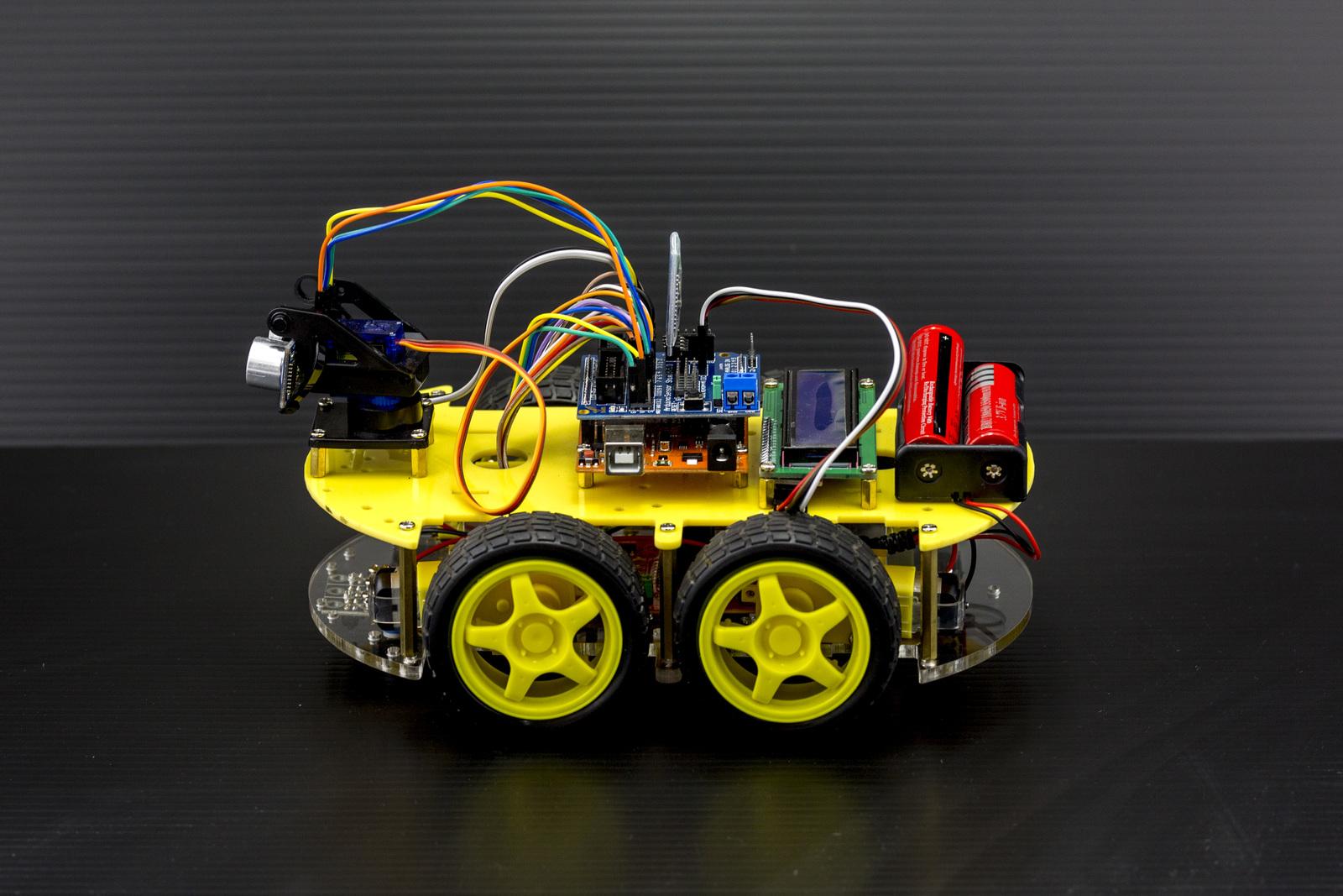Arduino 4 Wheel Drive Ultrasonic Bluetooth Robot Kit