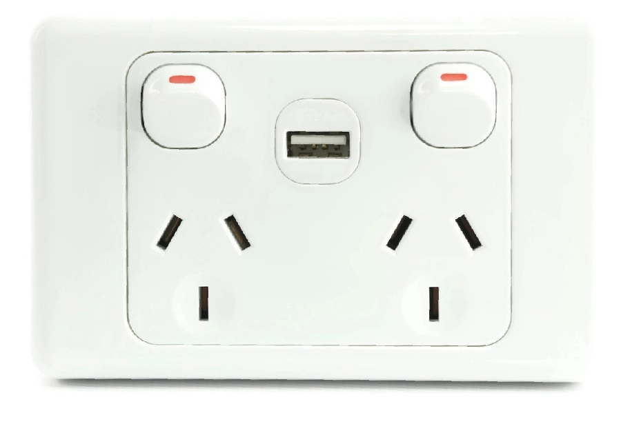 White Dual Usb Australian Power Point Home Wall Plate