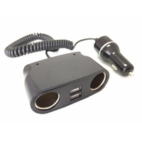 Cigarette Socket Splitter with 2 USB Ports