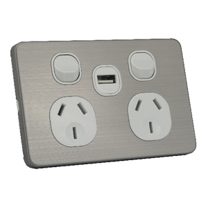 Silver Double Power Point  Wall Socket with 2A USB Charger