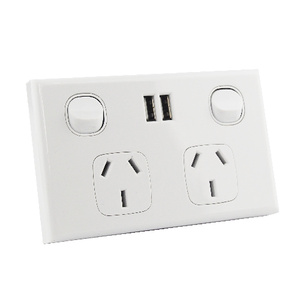 Dual USB Australian GPO Power Point Wall Plate - White