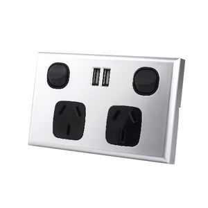Dual USB Australian GPO Power Point Wall Plate - Silver and Black