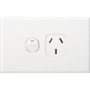 Slim White GPO Single Power Point Socket