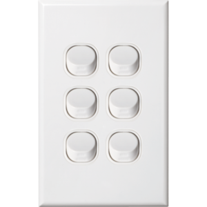 Slim Vertical Six Gang White Wall Plate with Switch