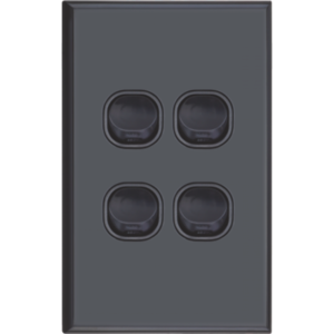 Slim Black Vertical Four Gang Wall Plate with Switch