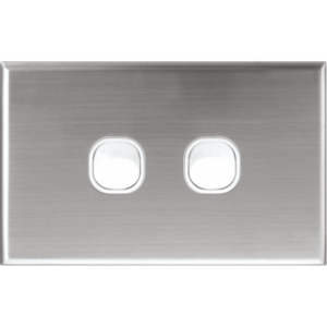 Silver Plate Cover for Alpha Series Wall Plate Switches - 2 Gang