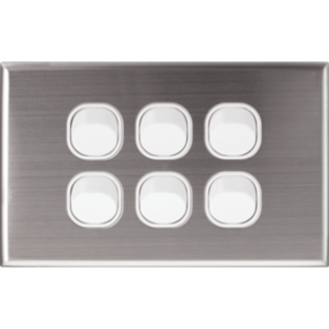 Silver Face Plate Cover for Alpha Series Wall Plate Switches - 6 Gang