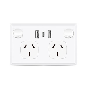 White Dual GPO Power Point Socket w/ 2 x USB A & 1 x USB C