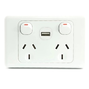 White Australian Dual Power Point GPO Wall Plate with 2A USB Socket Charger