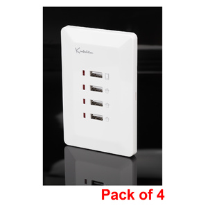 Pack of 4 x White Australian Wall Plate with 4 x USB Socket Charger
