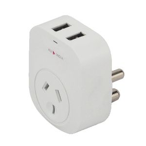 India Travel Adapter with 2 USB Charge Ports