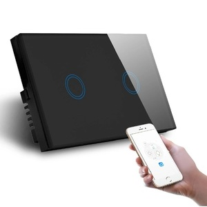 Smart Wi-Fi Black Double Gang Wall Switch