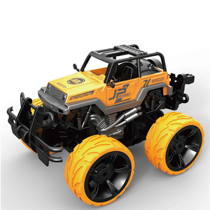 RC Yellow Stunt Truck with LED Lights and Sound Effects