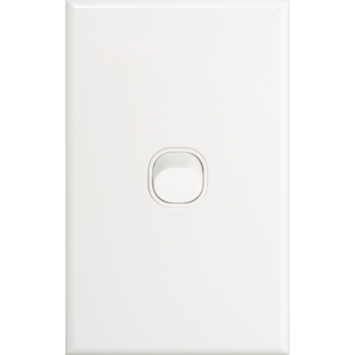 Slim Vertical Single Gang White Wall Plate with Switch