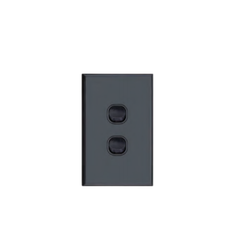 Slim Black Vertical Two Gang Wall Plate with Switch
