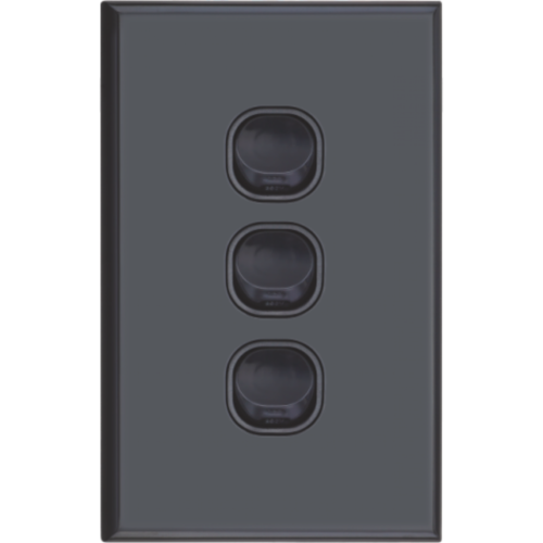 Slim Black Vertical Three Gang Wall Plate with Switch