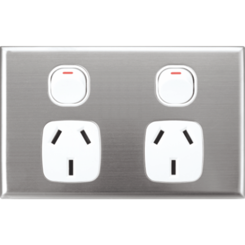 Silver Face Plate Cover for Slim Wall Power Outlet Sockets