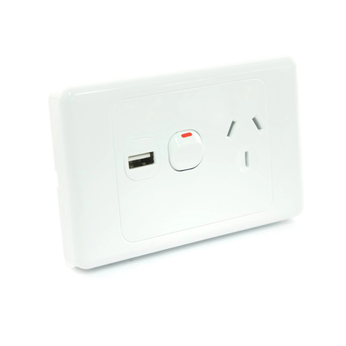 6 x White Australian Power Point GPO Wall Plate with 2A USB Socket Charger