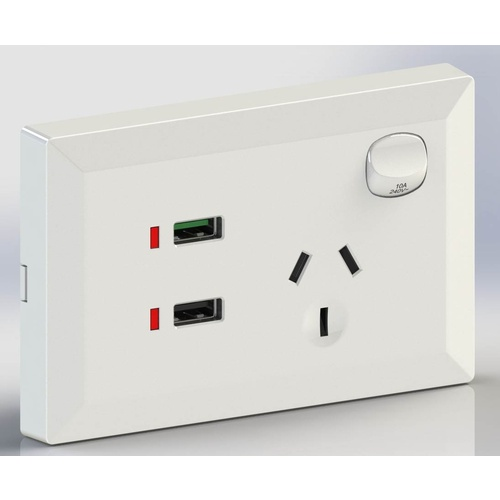 White Australian Single Power Point GPO Wall Plate with QC 3.0 and 2.4A USB Socket Charger