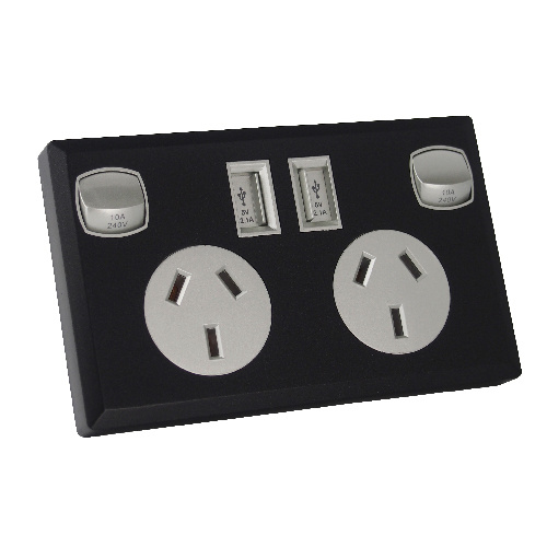 6 x Black and Silver Dual USB Australian Power Point Home Wall Plate Power Supply Socket
