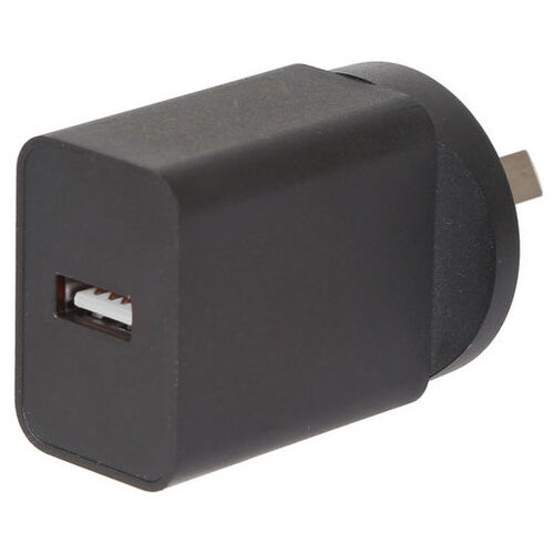 5V DC 2.4A Compact Power Adapter with USB Socket - Black